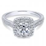 14K White Gold Diamond Halo On A Channel ANd Milgrain Shank 14K White Gold Engagement Ring ER7500W44