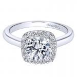 14K White Gold Diamond Pave Halo With Rounded Shank 14K White Gold Engagement Ring ER6873W44Jj