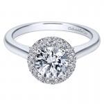 14K White Gold Diamond Pave Halo Rounded Shank 14K White Gold Engagement Ring ER7265W44Jj