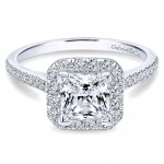 14K White Gold Diamond Princess Cut Halo With French Pave Shank 14K White Gold Engagement Ring ER726