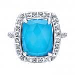 14k White Gold Diamond Rock Crystal&turquoise Fashion Ladies' Ring