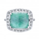 14k White Gold Diamond Rock Crystal&white Mother Pearl&green Onyx Fashion Ladies' Ring