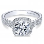 14K White Gold Diamond Round Halo With Double Pave Shank 14K White Gold Engagement Ring ER6984W44Jj