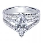 14K White Gold Diamond Split Shank 14K White Gold Engagement Ring ER8902W44Jj
