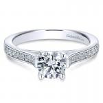 14K White Gold Diamond Straight Channel With Peg Head Setting 14K White Gold Engagement Ring ER12279