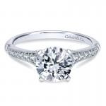 14K White Gold Diamond Straight Milgrain Channel 14K White Gold Engagement Ring ER11746R4W44Jj