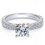 14K White Gold Diamond Straight Milgrain ANd Pave Channel 14K White Gold Engagement Ring ER7529W44Jj