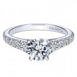 14K White Gold Graduating Pave Diamond On Straight Band 14K White Gold Engagement Ring ER8259W44Jj