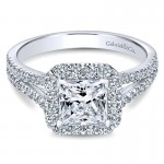 14K White Gold Halo ANd Pave Split Shank Diamond 14K White Gold Engagement Ring ER7277W44Jj