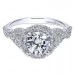 14K White Gold Pave Diamond Halo Twisted Shank 14K White Gold Engagement Ring ER11722R4W44Jj