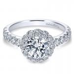 14K White Gold Round Diamond Halo With Bold Pave Shank 14K White Gold Engagement Ring ER7292W44Jj