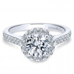 14K White Gold Round Diamond Halo With Channel Setting 14K White Gold Engagement Ring ER7278W44Jj