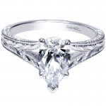 Engagement Ring 14k White Gold Split Shank