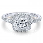 14K White/Pink Gold Diamond Halo Two-Tone Engagement Ring ER12836S4T44Jj