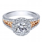 Engagement Ring 14k White/pink Gold Diamond Halo