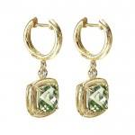 14k Yellow Gold Diamond Green Amethyst Drop Earrings