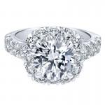 18K White Gold Diamond Halo 18K White Gold Engagement Ring ER11986R8W84Jj