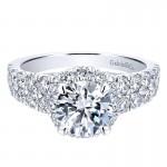 18K White Gold Diamond Halo 18K White Gold Engagement Ring ER12202R4W84Jj