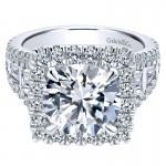 18K White Gold Diamond Halo 18K White Gold Engagement Ring ER12230W84Jj