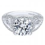 18K White Gold Diamond Halo 18K White Gold Engagement Ring ER12237R6W84Jj