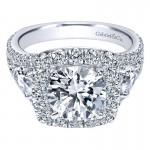 18K White Gold Diamond Halo 18K White Gold Engagement Ring ER8328W84Jj