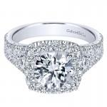 18K White Gold Diamond Halo 18K White Gold Engagement Ring ER8333W84Jj