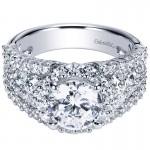 18K White Gold Diamond Halo 18K White Gold Engagement Ring ER8446W84Jj