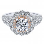 18K White/Pink Gold Diamond Double Halo Two-Tone Engagement Ring ER12798R4T84Jj