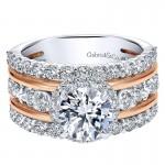 18K White/Pink Gold Diamond Halo Two-Tone Engagement Ring ER12195R4T84Jj