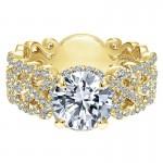 18K Yellow Gold Diamond Halo 18K Yellow Gold Engagement Ring ER12190R4Y84Jj