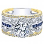 18K Yellow/White Gold Diamond ANd SApphire Halo Two-Tone Engagement Ring ER12189R4M84SA