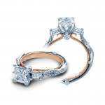Verragio Three Stone Pave Twist Diamond Engagement Ring