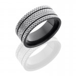 Lashbrook Zirconium 9mm Flat Band With Two .5mm Grooves And Knurl Pattern Z9F/2.5KNURL