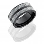 Lashbrook Zirconium 10mm Flat Band With 2 Stripes Of 3mm Silver Carbon Fiber ZC10F23/SILVERCF