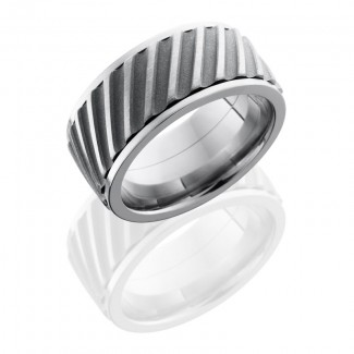 Lashbrook Titanium 10mm Flat, Spinner Band With Helical Pattern 10FHELICALSPINNER