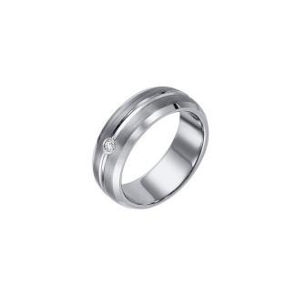 Triton 8mm White Tungsten Carbide Bevel Edge Band 22-2942