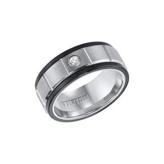 Triton Black And White Tungsten Carbide Men'S Band 22-4329
