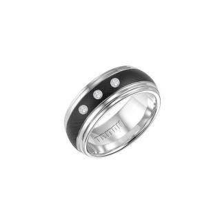 Triton Black And White Tungsten Carbide Men'S Band 22-4331