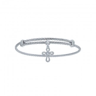 Gaby Bangle 925 Silver and Stainless Steel White Sapphire Cross Charm