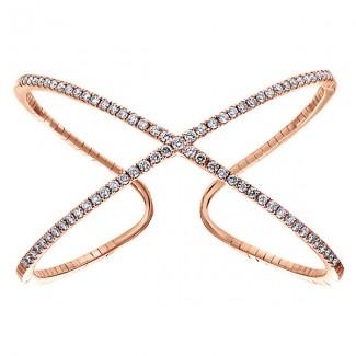 14k Pink Gold Diamond Bangle