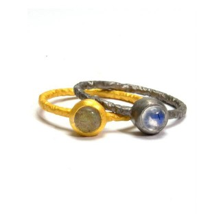 Mikros Petite Cabachon Gemstone Stacking Rings