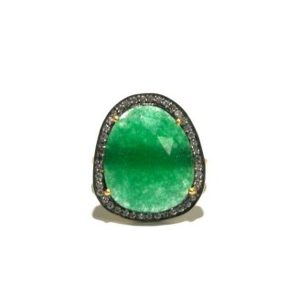 Green Quartz + White Zircon Statement Ring