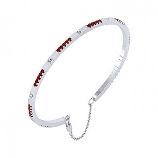 14k White Gold And Ruby Bangle