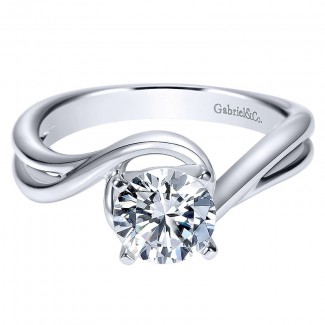 Engagement Ring 14k White Gold Bypass