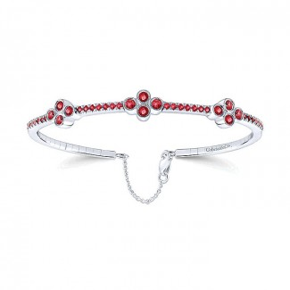 14k White Gold Diamond And Ruby Bangle