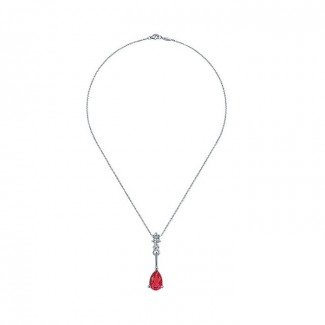14k White Gold Diamond And Ruby Fashion Necklace
