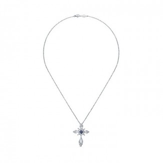 14k White Gold Diamond And Sapphire Cross Necklace