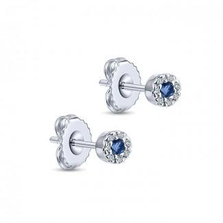 14k White Gold Diamond And Sapphire Stud Earrings