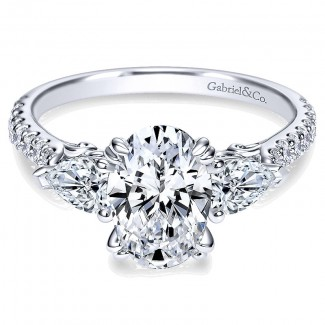 14K White Gold Diamond 3 Stones 14K White Gold Engagement Ring ER9048W44Jj
