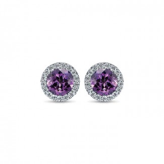 14k White Gold Diamond Amethyst Stud Earrings